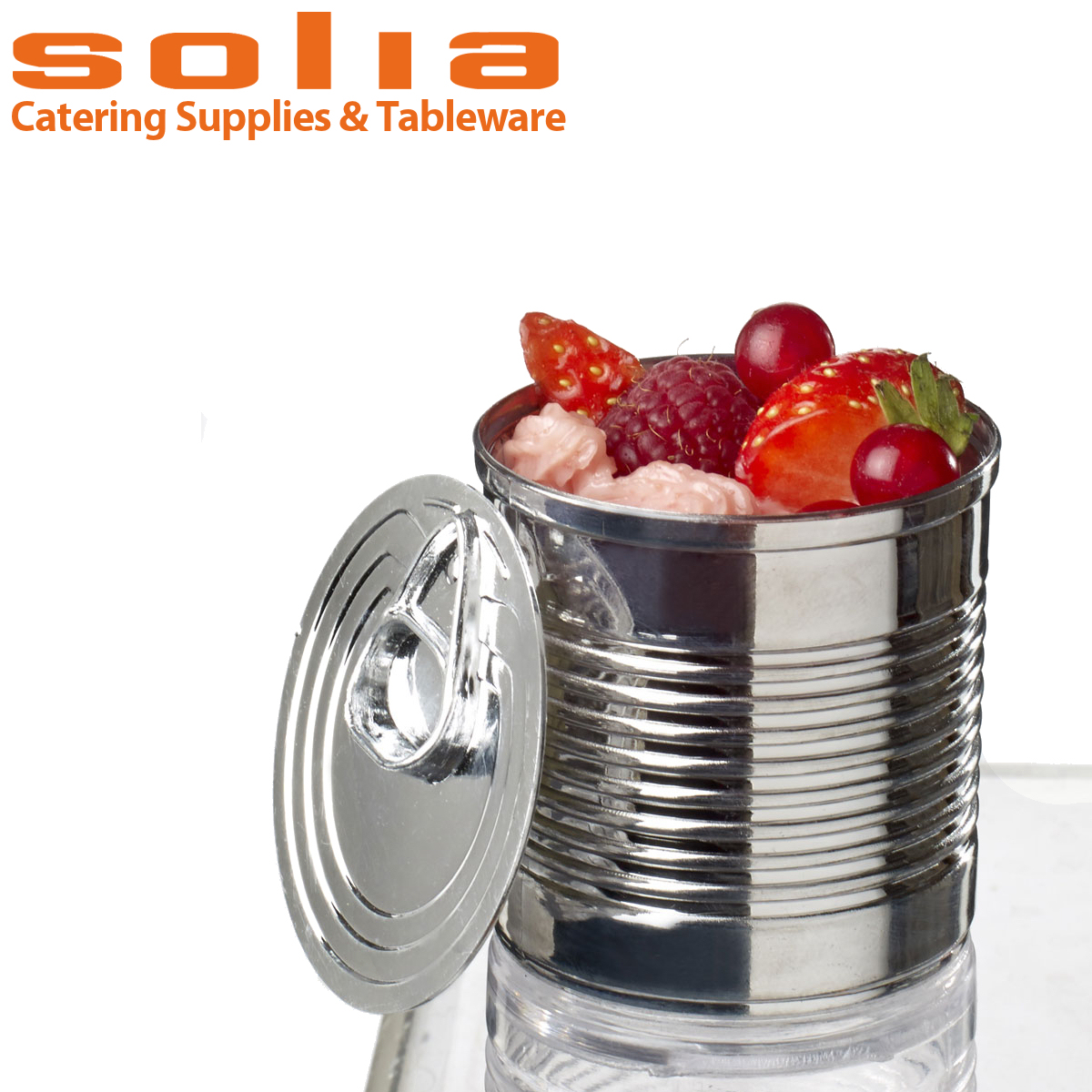 Solia Metallized Plastic Disposable Catering mini Tin Can Dish